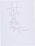 Movie/TV Memorabilia:Autographs and Signed Items, Richard Dreyfus: Actor's Doodle for Hunger Benefiting St. Francis Food Pantries and Shelters. ...