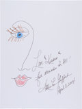 Movie/TV Memorabilia:Autographs and Signed Items, Kathy Lee Gifford: Television Host's Doodle for HungerBenefiting St. Francis Food Pantries and Shelters. ...