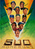 "Baseball Collectibles:Others, 500 Home Run Club Multi Signed Oversized ""Ron Lewis"" Print...."