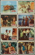 "Movie Posters:Adventure, Davy Crockett and the River Pirates (Buena Vista, 1956). Lobby CardSet of 8 (11"" X 14""). Adventure.. ... (Total: 8 Items)"