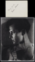 "Movie Posters:Photo, Ramon Novarro (MGM, 1920). Double Sided Printed Image (12.5"" X 10"")and Autograph Card (6.5"" X 5""). Photo.. ... (Total: 2 Items)"