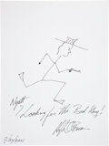 Movie/TV Memorabilia:Autographs and Signed Items, Hugh O'Brien: Actor's Doodle for Hunger Benefiting St.Francis Food Pantries and Shelters . ...