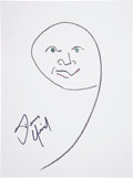 Movie/TV Memorabilia:Autographs and Signed Items, Dennis Quaid: Actor's Doodle for Hunger Benefiting St. Francis Food Pantries and Shelters . ...