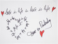 Movie/TV Memorabilia:Autographs and Signed Items, Diane Von Furstenberg: Fashion Designer's Doodle for Hunger Benefiting St. Francis Food Pantries and Shelters ...