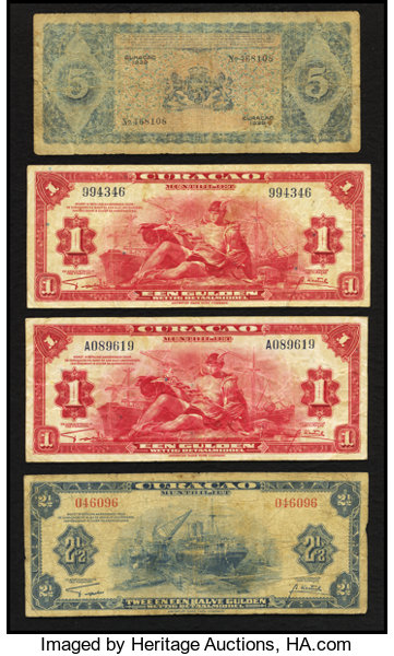 World Currency Curacao Total 4 Notes