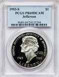 Modern Issues: , 1993-S $1 Jefferson Silver Dollar PR69 Deep Cameo PCGS. PCGSPopulation (1789/70). NGC Census: (2216/29). Mintage: 332,891....