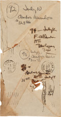 Autographs:Authors, Ernest Hemingway Notes Written in his own Hand on the Back of an Envelope....