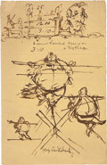 Autographs:Artists, George Cruikshank Signed Original Drawing....