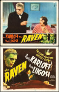 "Movie Posters:Horror, The Raven (Realart, R-1948). Title Lobby Card and Lobby Card (11"" X14"").. ... (Total: 2 Items)"