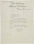 """Autographs:Inventors, Thomas Edison Typed Letter Signed """"Thos A Edison"""" withrelated documents...."""