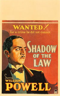 "Shadow of the Law (Paramount, 1930). Window Card (14"" X 22"")"