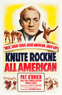 "Knute Rockne - All American (Warner Brothers, 1940). One Sheet (27"" X 41"")"
