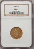 Liberty Half Eagles: , 1849 $5 XF45 NGC. NGC Census: (17/151). PCGS Population (15/46).Mintage: 133,070. Numismedia Wsl. Price for problem free N...
