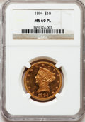 Liberty Eagles: , 1894 $10 MS60 Prooflike NGC. NGC Census: (8/61). PCGS Population(0/0). Mintage: 2,470,778. (#78729)...