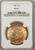 Liberty Double Eagles: , 1888 $20 MS61 NGC. NGC Census: (377/159). PCGS Population(225/200). Mintage: 226,100. Numismedia Wsl. Price for problemfr...
