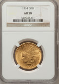 Indian Eagles: , 1914 $10 AU58 NGC. NGC Census: (293/1671). PCGS Population(263/1384). Mintage: 151,050. Numismedia Wsl. Price for problem ...