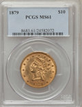 Liberty Eagles: , 1879 $10 MS61 PCGS. PCGS Population (54/101). NGC Census:(269/194). Mintage: 384,770. Numismedia Wsl. Price for problemfr...