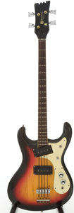 Musical Instruments:Bass Guitars, 1967 Mosrite Sunburst Solid Body Electric Bass Guitar Bass Serial # 6996...