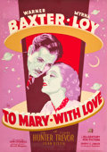 """Movie Posters:Romance, To Mary - with Love (20th Century Fox, 1936). Poster (30"""" X 40"""").. ..."""