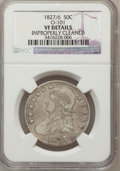 Bust Half Dollars, 1827/6 50C --Improperly Cleaned--NGC Details. VF. O-101. NGCCensus: (0/74). PCGS Population (1/162). Numismedia Wsl. Price...