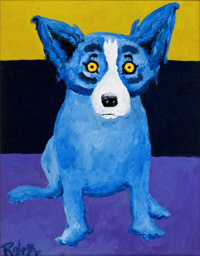 GEORGE RODRIGUE (American, b. 1944) Blue Dog with Stripes Acrylic on canvas 14 x 11 inches (35.6