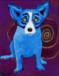 GEORGE RODRIGUE (American, b. 1944) Blue Dog with Yellow Spiral Oil on canvas 14 x 11 inches (35