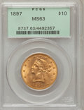 Liberty Eagles: , 1897 $10 MS63 PCGS. PCGS Population (578/98). NGC Census:(1211/191). Mintage: 1,000,159. Numismedia Wsl. Price forproblem...