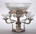 Silver & Vertu:Hollowware, A BENJAMIN SMITH GEORGE III SILVER AND CUT GLASS EPERGNE . Benjamin Smith, London, England, 1818-1819. Marks: (lion passant)... (Total: 6 Items)