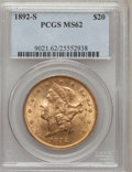 Liberty Double Eagles: , 1892-S $20 MS62 PCGS. PCGS Population (1225/661). NGC Census:(1414/401). Mintage: 930,150. Numismedia Wsl. Price for probl...