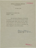 Autographs:Letters, 1944 Moe Berg World War II Orders from Office of StrategicServices....