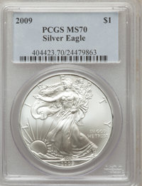 2009 $1 Silver Eagle MS70 PCGS. PCGS Population (20767). NGC Census: (4288). Numismedia Wsl. Price for problem free NGC/...