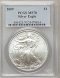 Modern Bullion Coins, 2009 $1 Silver Eagle MS70 PCGS. PCGS Population (20767). NGCCensus: (4288). Numismedia Wsl. Price for problem free NGC/PC...