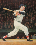 Autographs:Others, 1985 Ted Williams Signed Original Artwork by LaMontagne....