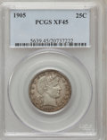 Barber Quarters: , 1905 25C XF45 PCGS. PCGS Population (13/165). NGC Census: (2/128).Mintage: 4,968,250. Numismedia Wsl. Price for problem fr...