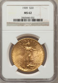 Saint-Gaudens Double Eagles: , 1909 $20 MS62 NGC. NGC Census: (439/228). PCGS Population(560/877). Mintage: 161,282. Numismedia Wsl. Price for problemfr...