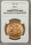 Liberty Double Eagles: , 1890 $20 MS61 NGC. NGC Census: (191/222). PCGS Population (182/212). Mintage: 75,995. Numismedia Wsl. Price for problem fre...