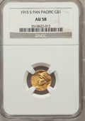 Commemorative Gold: , 1915-S G$1 Panama-Pacific Gold Dollar AU58 NGC. NGC Census:(145/3452). PCGS Population (314/5147). Mintage: 15,000. Numism...