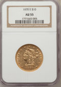 Liberty Eagles: , 1870-S $10 AU55 NGC. NGC Census: (10/2). PCGS Population (3/3).Mintage: 8,000. Numismedia Wsl. Price for problem free NGC/...