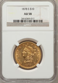 Liberty Eagles: , 1878-S $10 AU58 NGC. NGC Census: (26/5). PCGS Population (5/1).Mintage: 26,100. Numismedia Wsl. Price for problem free NGC...