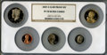 Proof Sets, 2007-S 1C Clad Proof Set PR70 Ultra Cameo NGC. This set includes: Lincoln Cent, Monticello Nickel, Roosevelt Dime, Kennedy ... (Total: 5 coins)
