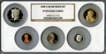 Proof Sets, 2008-S 1C Silver Proof Set PR69 Ultra Cameo NGC. This set includes: Lincoln Cent, Monticello Nickel, Roosevelt Dime, Ke... (Total: 5 coins)