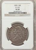 Bust Half Dollars, 1835 50C VF30 NGC. O-102. NGC Census: (23/727). PCGS Population(35/779). Mintage: 5,352,006. Numismedia Wsl. Price for pro...