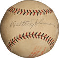 Autographs:Baseballs, 1928 Walter Johnson Single Signed Baseball....