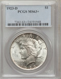 Peace Dollars, 1923-D $1 MS63+ PCGS. PCGS Population (1437/1770). NGC Census:(875/1239). Mintage: 6,811,000. Numismedia Wsl. Price for pr...