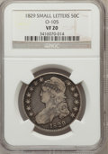 Bust Half Dollars, 1829 50C Small Letters VF20 NGC. O-105. NGC Census: (11/1027). PCGSPopulation (15/1289). Mintage: 3,712,156. Numismedia Ws...