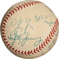 Autographs:Baseballs, 1953 Baseball Legends Multi-Signed Baseball with Young,Connolly....