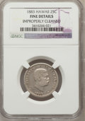 Coins of Hawaii, 1883 25C Hawaii Quarter--Improperly Cleaned--NGC Details. Fine. NGCCensus: (0/1046). PCGS Population (8/1585). Mintage: 50...