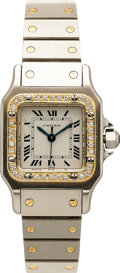 Estate Jewelry:Watches, Cartier Lady's Diamond, Gold, Stainless Steel Santos Wristwatch,modern. ...
