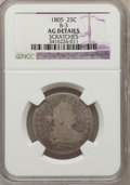 Early Quarters, 1805 25C --Scratches--NGC Details. AG. B-3. NGC Census: (0/237).PCGS Population (16/447). Mintage: 121,394. Numismedia Wsl....