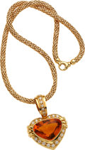Estate Jewelry:Necklaces, Citrine, Diamond, Gold Enhancer-Necklace. ...